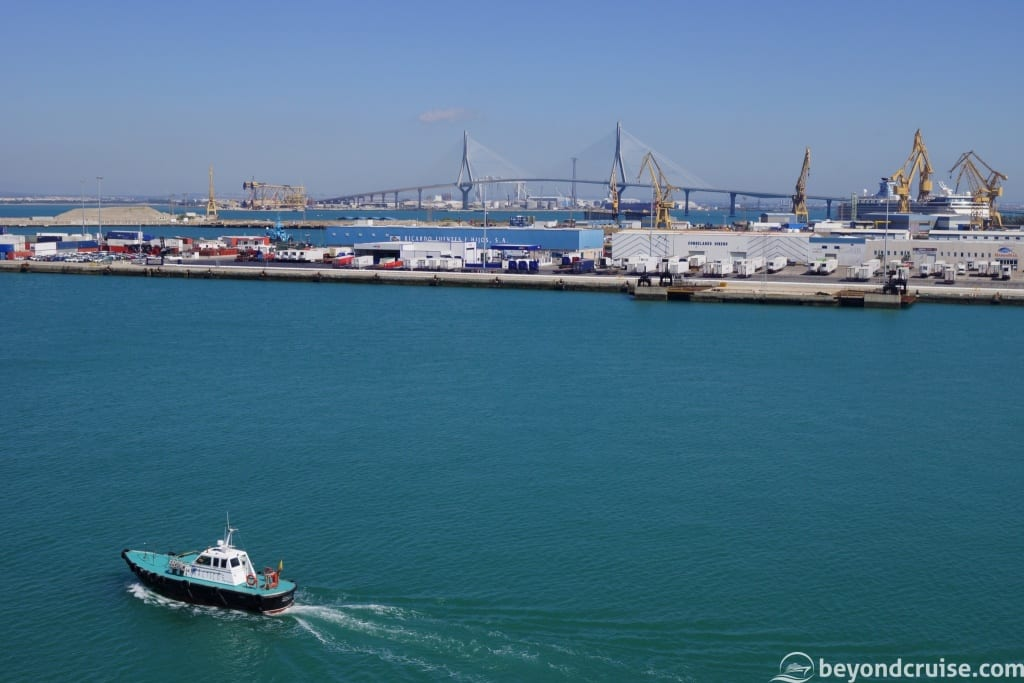 Cadiz La Pepa bridge and Pilot boat