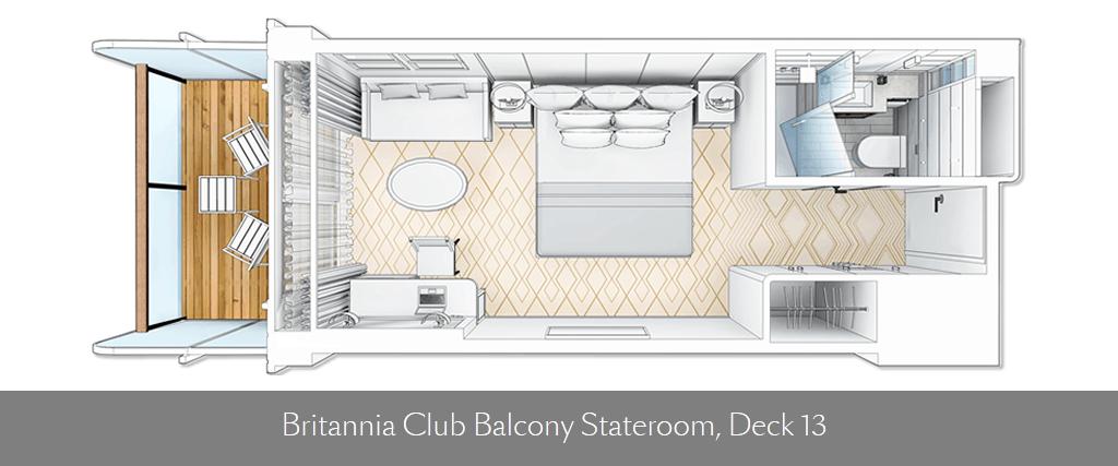 Queen Mary 2 - Remastered Britannia Club Balcony deckplan