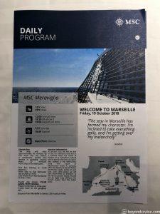 MSC Meraviglia - Marseille Daily Program cover