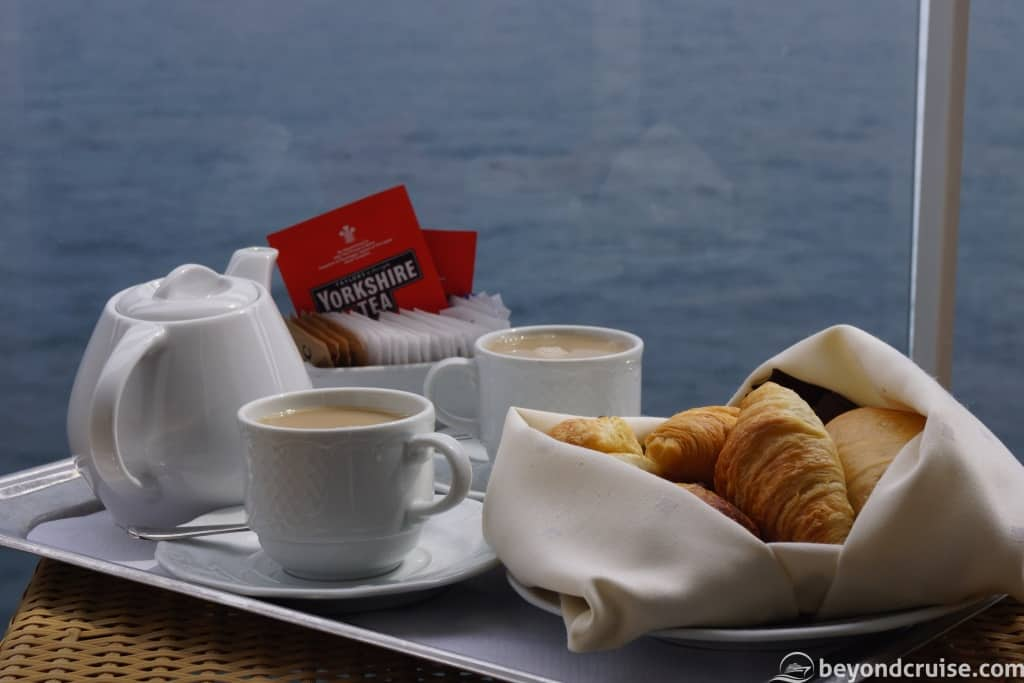 MSC Magnifica room service breakfast on our balcony