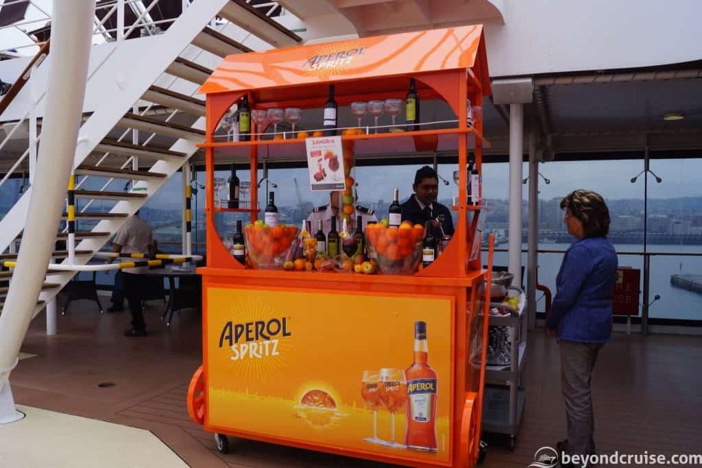 Aperol Spritz stand on MSC Magnifica