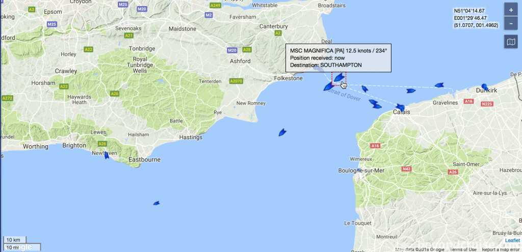 MSC Magnifica enroute to Southampton