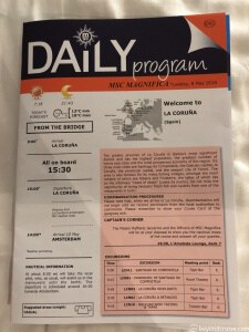 MSC Magnifica Daily Program for 8th May 2018