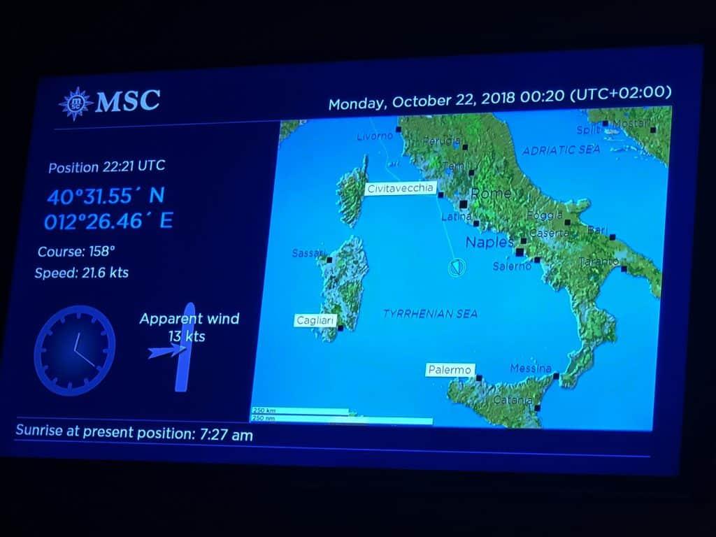 MSC Meraviglia - Cabin TV information screen