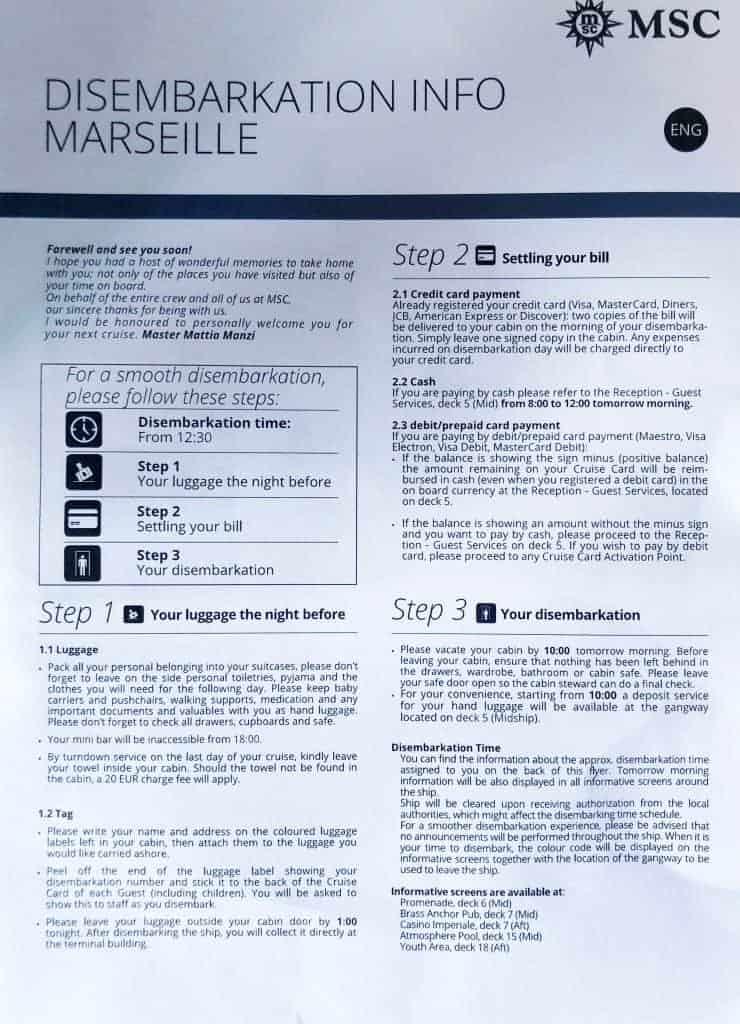 MSC Meraviglia disembarkation information