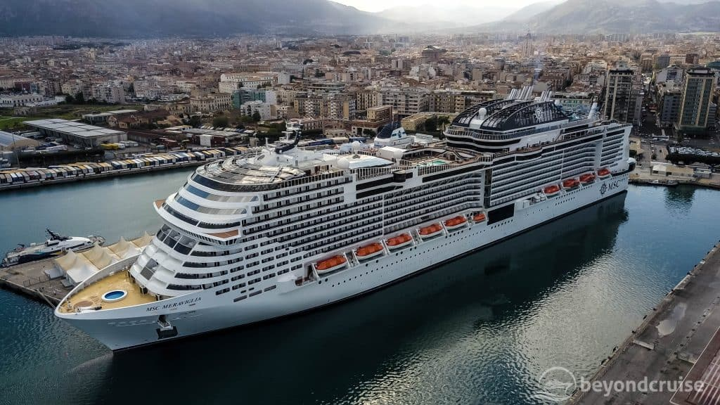 MSC Meraviglia from the air in Palermo