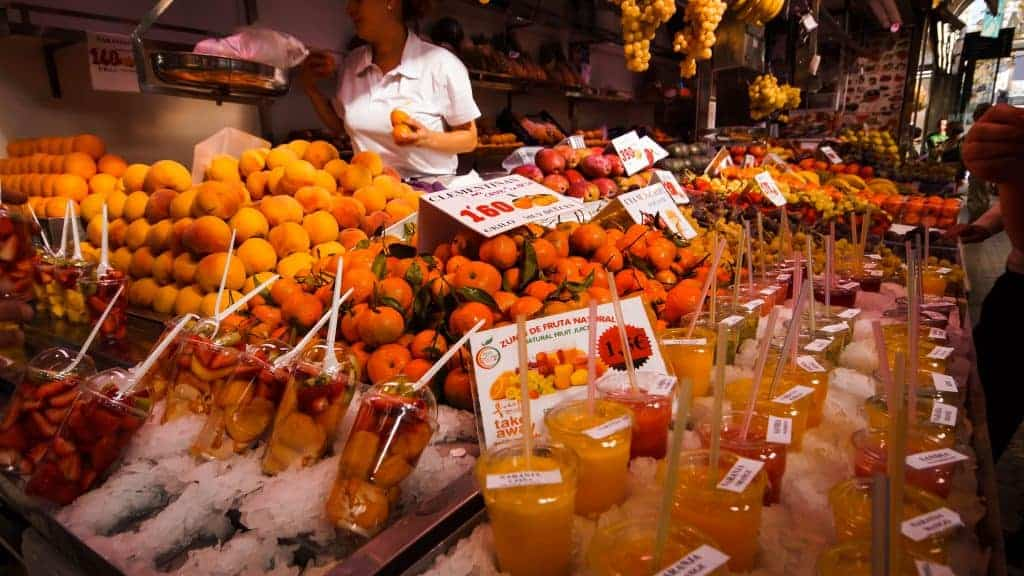 Valencia Central Market, Fresh Fruit and Juices