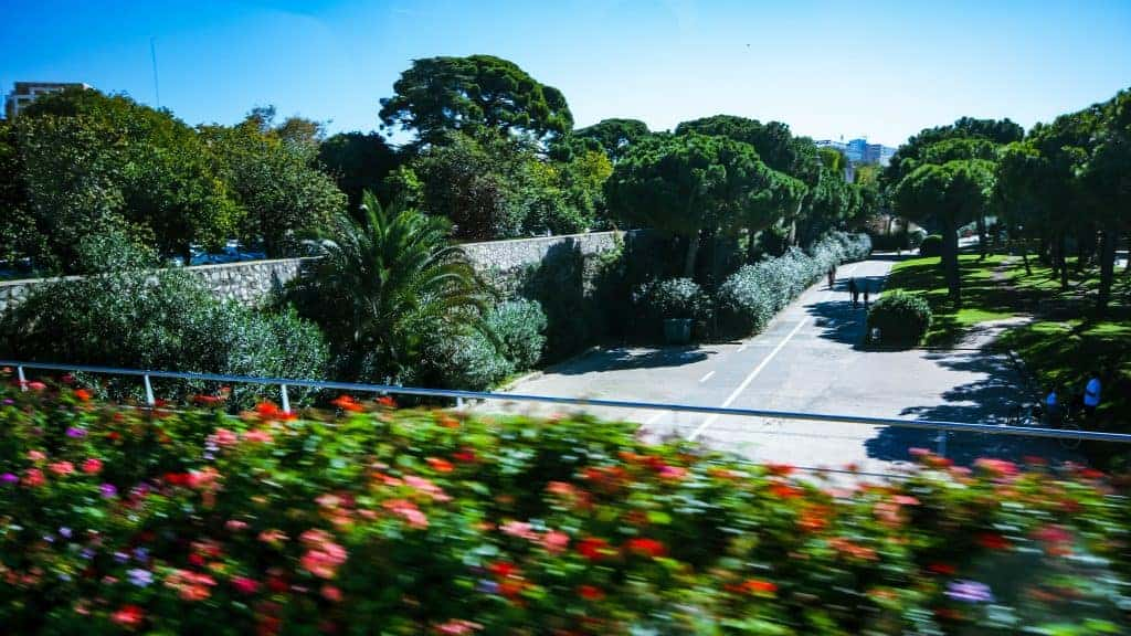 Driving over the gardens in the old riverbed