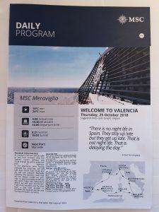 MSC Meraviglia, Valencia Daily Program