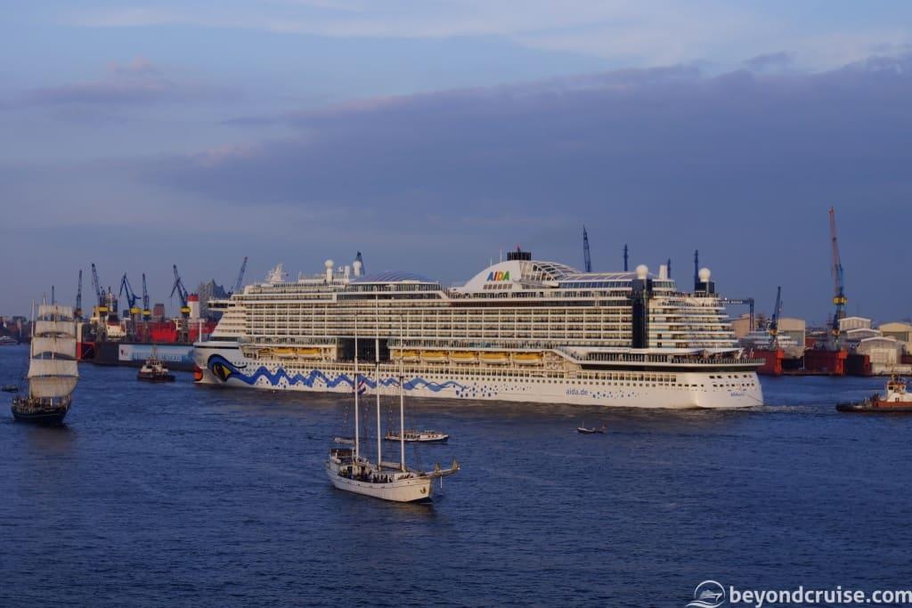 AIDAperla arriving for the Port of Hamburg 829th anniversary