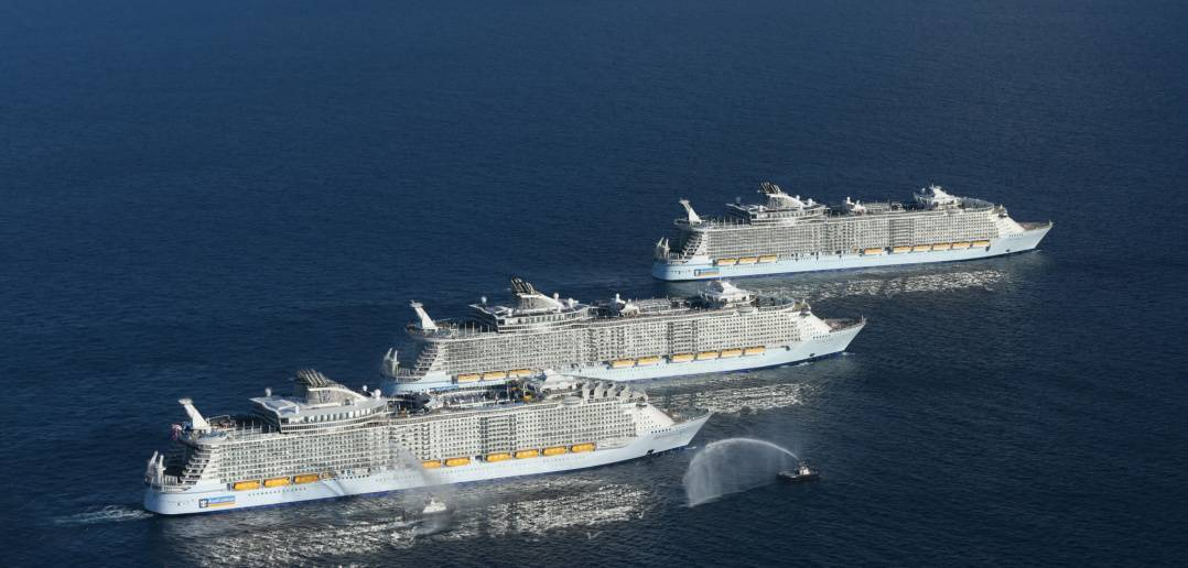 The three Oasis-class sisters meet for the first time just off the coast of Florida, USA